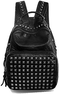 Women Waterproof PU Leather Rivet Backpack with Zippers Black Bags BS072