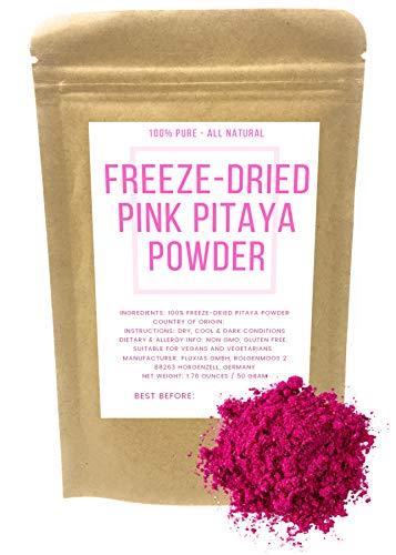 Pitaya Rose - Poudre De Fruit Du Dragon Lyophilisée À Base De Pitaya Rouge - Colorant Alimentaire Rose Naturel - Poids Net: 50g