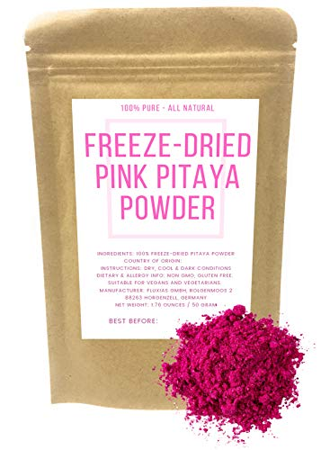 Pink Pitaya - Polvo liofilizado de pitahaya roja - Vegano - Sin gluten - Colorante alimentario rosa natural - Peso neto: 50g
