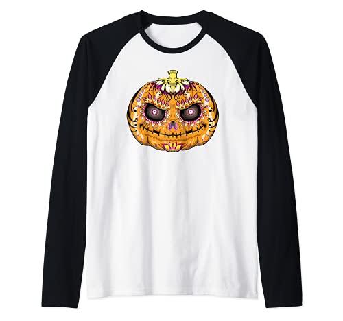 Calavera de azcar de calabaza, crneo de Halloween Camiseta Manga Raglan