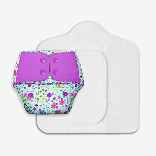 SuperBottoms Freesize UNO - Washable & Reusable Cloth Diaper + 2 Organic Cotton Dry Feel Magic Pads Set [Day & Night Use] (for Babies 5 KG- 17 KG) - Periwinkle