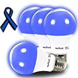 AmeriLuck Cobalt Blue Light A19 LED Bulbs, 60W Equivalent (7W), E26 Medium Base, 4 Pack