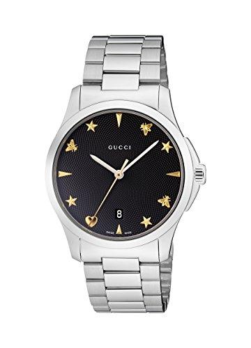 Gucci Unisex Erwachsene Datum klassisch Quarz Uhr mit Edelstahl Armband YA1264029
