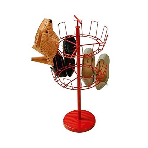 WY-YAN Rojo Rotatorio Zapatero 2 Nivel de Calzado Estantes Double Tree Organizador del almacenaje de Metal Colgantes Balcón