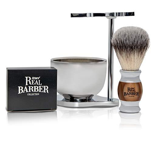 Real Barber Universal Rasierständer mit Schale und Pinsel (vegan) mit Rasierpinselhalter inkl. Rasierseife mit Bioölen ● Rasierer Kit & Pinsel Set