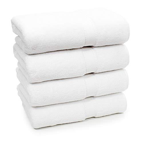 4 toallas de baño blancas 100% algodón egipcio calidad hotel toalla grande 500 GSM