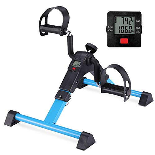 MOMODA Pedal Exerciser Leg and Arm Exercise Bike with LCD Monitor Foldable (Black/Blue)