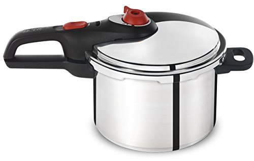 T-fal P2614634 Secure Aluminum Initiatives 12-PSI Pressure Cooker Cookware, 6-Quart, Siver