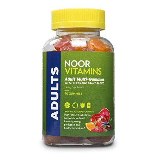 NoorVitamins Adult Multivitamin Gummy with Organic Fruit Blend for Men and Women; NON-GMO, Gluten Free, Vegan Friendly. Halal Vitamins - 90 Count