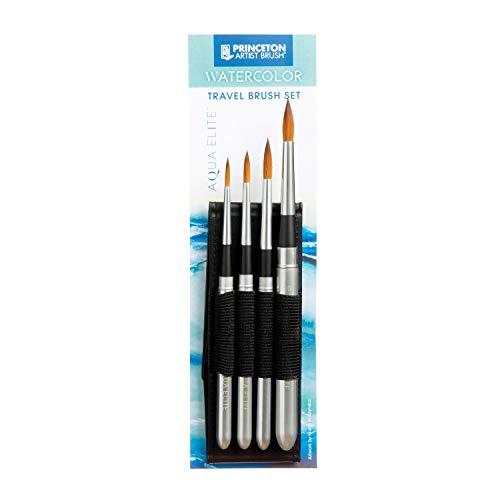 Princeton Aqua Elite, Series 4850, Synthetic Kolinsky Watercolor Paint Brush, Travel Set of 4