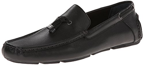 Calvin Klein Men's Macon Epi Leather Oxford, black, 9 M US