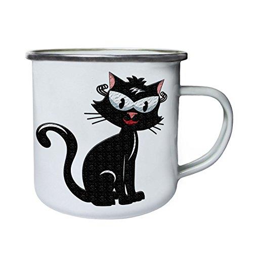 Schöne Katze Smile Happy Retro, Zinn, Emaille 10oz/280ml Becher Tasse z345e