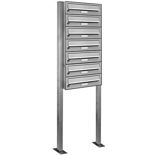 AL Briefkastensysteme 7er Edelstahl Standbriefkasten rostfrei als 7 Fach Briefkastenanlage DIN A4 in Postkasten Briefkasten Design modern