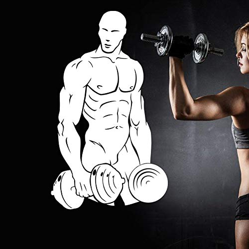 zzlfn3lv Gym Sticker Fitness Dumbbell Decal Body-Building Posters Vinyl Wall Decals Pegatina Quadro Parede Decor Mural Gym Sticker34*58cm