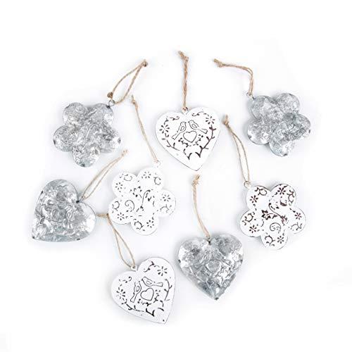 Logbuch-Verlag 8 Geschenkanhänger aus Metall in weiß Silber Shabby Chic Herz + Blume 6 cm - Osterdeko Anhänger Frühlingsdeko Valentinstag