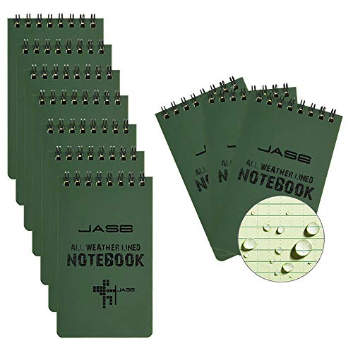 10pcs All-Weather Waterproof Notebook, Pocket Sized Top Spiral Shower Aqua Notes, Tactical Notepad, Hard Cover Universal Pattern for Outdoor Activities Recording