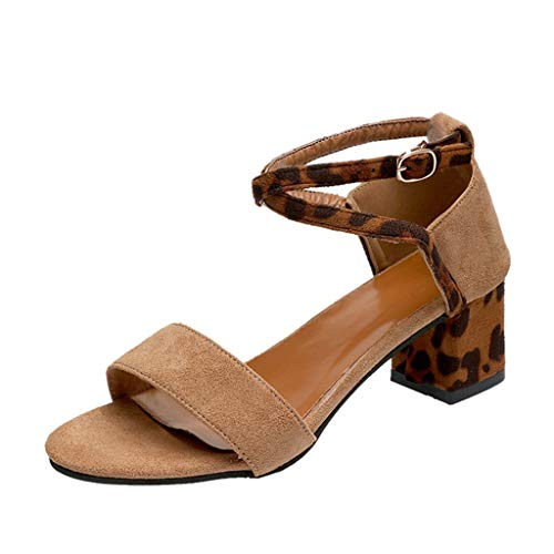 TAMALLU Damen Lepoard Sandalen Sommer Schnalle Riemen Square Heels Open Toe Atmungsaktive Cross Criss Fashion Freizeitschuhe for Frauen(39.5,Khaki)