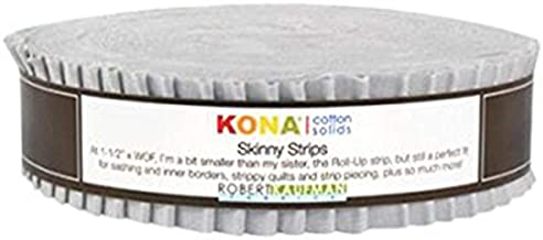 Kona Cotton Solids Ash Skinny Strips 40 1.5-inch Strips Honey Bun Robert Kaufman Fabrics SS-113-40