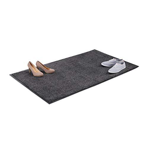 Relaxdays vuilvangmat grijs, voetmat binnen, vuilmat groot, voetmat dun, deurmat 90x150 cm, zwart-grijs