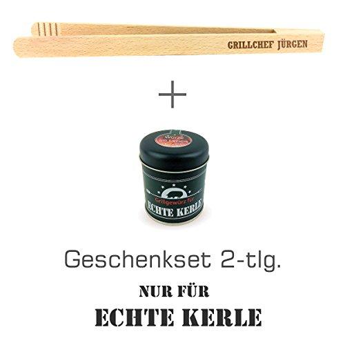 """Geschenkset 2-tlg. """"Nur für echte Kerle"""" Grillgewürz und Grillzange mit Namens-Gravur \""""Grillchef + Jürgen\"""" / Geburtstagsgeschenk / kreatives Geschenk / Männer / Grillen"""