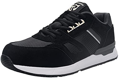 LARNMERN Zapatos de Seguridad Hombre Trabajo Ligeros Zapatillas de Seguridad Punta de Acero Transpirable Comodos Calzado Seguridad Deportivo SRC Antideslizante S1 Antiestático (Negro,42.5EU)