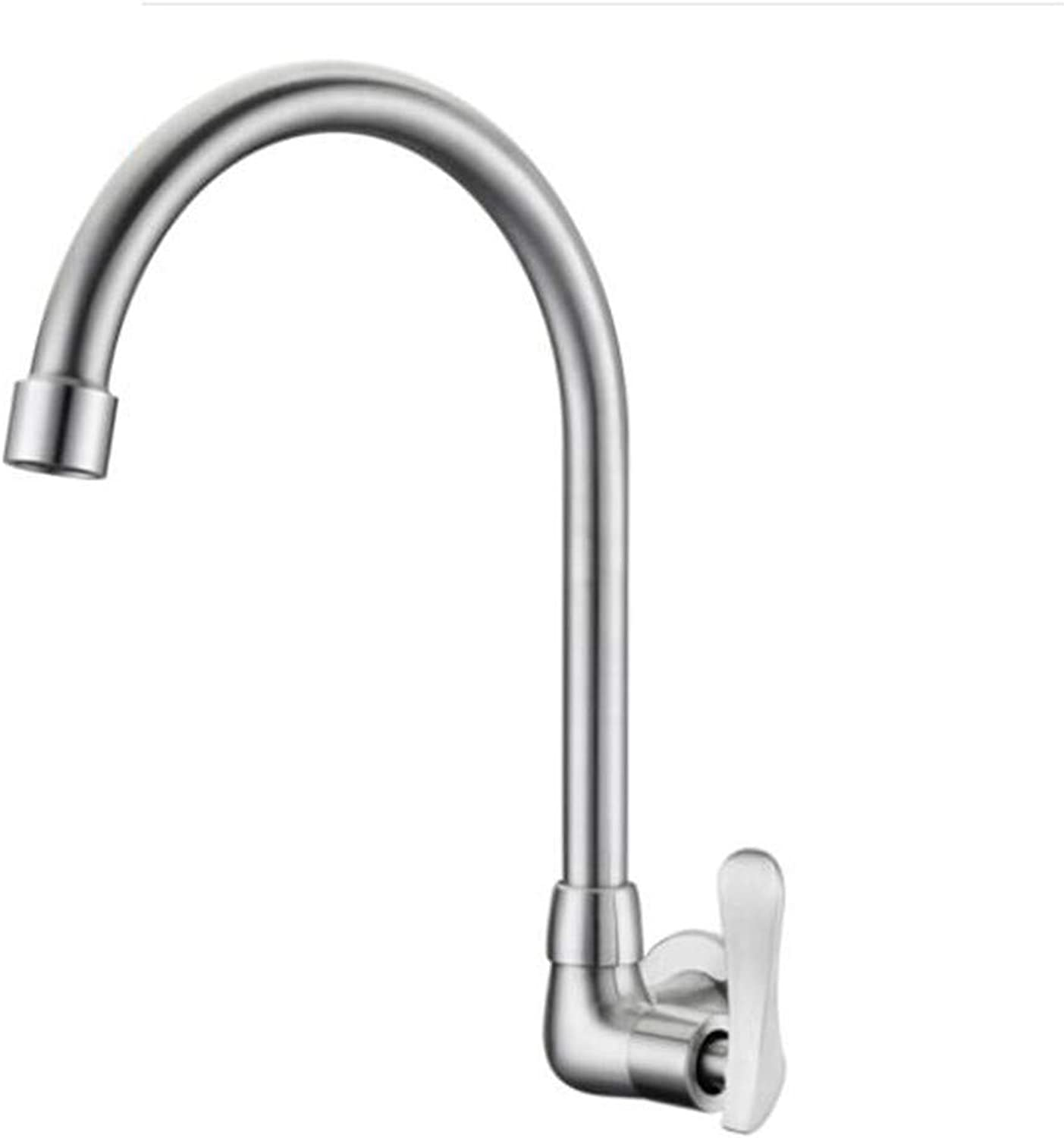 Bathroom Sink Basin Lever Mixer Tap 304 Stainless Steel Wall-Mounted Single-Cold Kitchen Washbasin Faucet Balcony Mop Pool Faucet