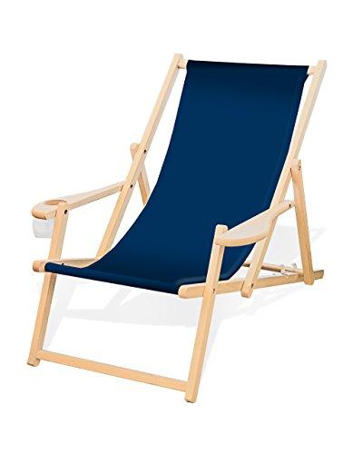 Holz-Liegestuhl mit Armlehne und Getränkehalter, Klappbar, Wechselbezug (Dunkelblau)
