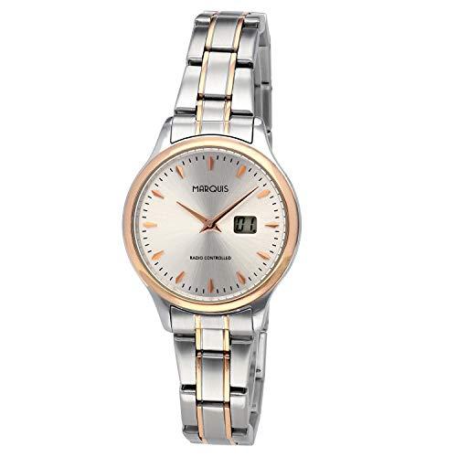 MARQUIS Damen Armbanduhr Funkuhr, Gehäuse und Armband aus Edelstahl Bicolor, Druckverschluss 4111