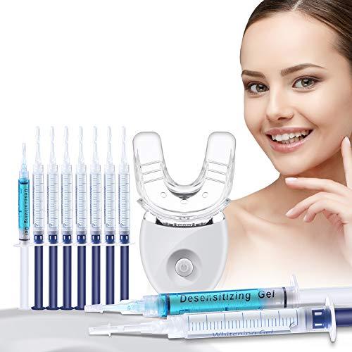 OriHea Teeth Whitening Kits LED Light, 35% Carbamide Peroxide, 5X More Powerful Blue LED Light, (8) 3ml Teeth Whitening Gel Syringes, (2) 3ml Desensitizing Gel, White Smile Set with Mouth Tray