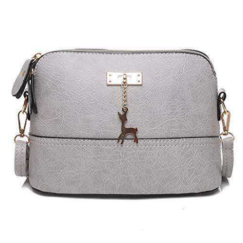HCFKJ👜 Tasche, Damen Plissee Umhängetasche Fawn Anhänger Shell Schultertasche Messenger Bag (GY)