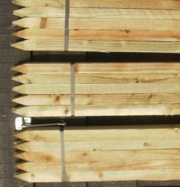 20 x 1.2m (4ft) tall square garden tree stakes - HC4 pressure treated