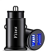 VITEX Car Charger, 4.8A Aluminum Alloy Car Charger Adapter, 2 USB Port, Fast Car Charging, Mini Flush Fit Compatible iPhone Xs max/XR/x/7/6s, iPad Air 2/Mini 3, Note 9/Galaxy S10/S9/S8 More