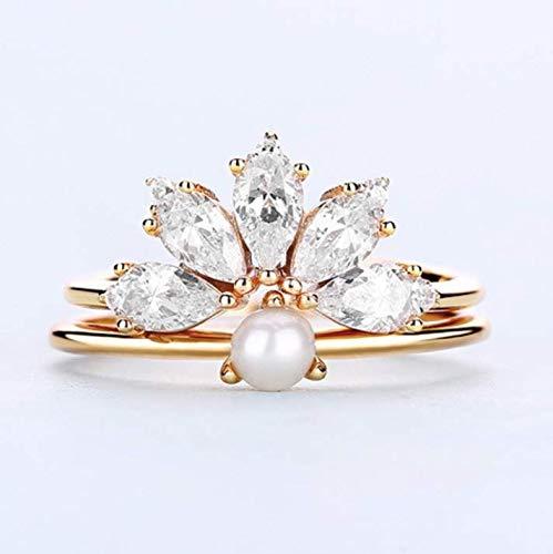 Anillo Dream Inn de plata de ley 925, 0,3 mm chapado en oro, perla, antialergias, regalo para mujer, regalo de cumpleaños para mamá o novia
