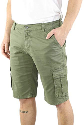Ciabalù Bermuda Uomo Tasconi Militare Cargo Cotone Pantaloncino con Tasche Laterali Verde Blu Beige Pantalone Corto Shorts Tasconi Laterali Casual Sportivi Estivo (Verde, 44)