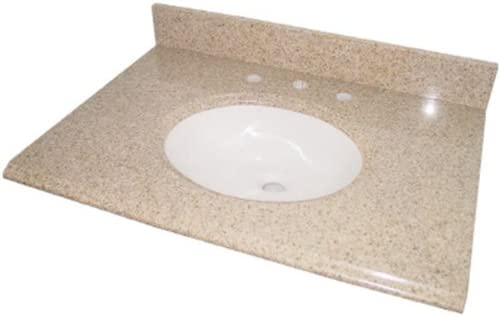 Pegasus Pe49682 49 Inch Granite Vanity Top With White Bowl And 8 Inch Spread Beige Vanity Sinks Amazon Com