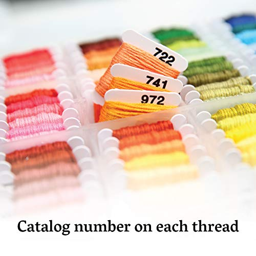 Embroidery Floss Kit - 108, 6-Strand Colors (99 Cotton, 9 Metallic) on Plastic Bobbins in Organizer. for Cross Stitch/Friendship Bracelets/Tassels/Contemporary Jewelry and Crafts by Atteret