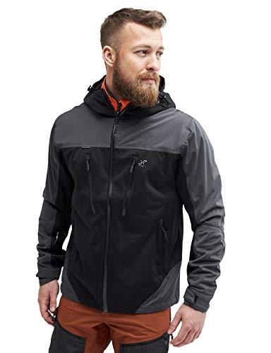 RevolutionRace Silence Proshell Jacket, Herrenjacke, belüftete und wasserdichte Jacke für Wanderungen und andere Outdoor-Aktivitäten, Black, L