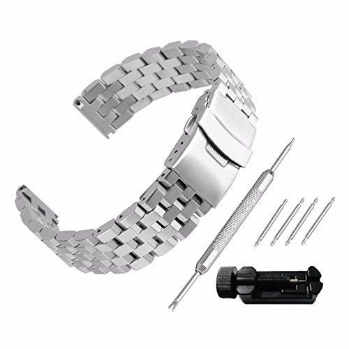 Echthaarverlängerung Armband zeigt 26mm Stahl 304Ersatz mit Armband Link Pin Remover Set Reparatur Werkzeugset Armband hat Schnalle, Band Handgelenk-Wasserdicht Watch Band Set # 105