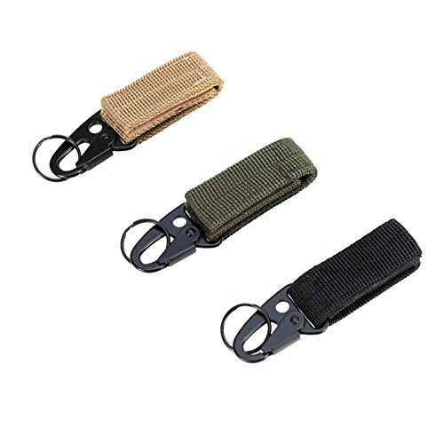 AoToZan 3PCS Nylon Gürtel Karabiner Schlüsselanhänger Gürtelschnalle EDC Taktischen Molle Haken für MOLLE Taschen, Outdoor Aktivitäten