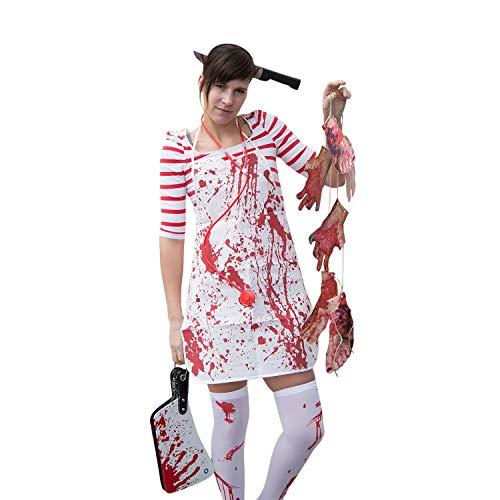 Oblique Unique® Horror Kostüm Accessoire Set für Damen - Messer im Kopf Haarreif + Metzger Schürze + Overknee Strümpfe + Blutige Füße & Hände Girlande Halloween Fasching Karneval