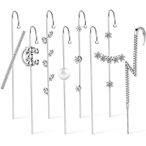 8 Pieces Ear Crawler Earrings Ear Cuff Wrap Crawler Hook Earrings Silver Plated Rhinestone Ear Jewelry for Women Valentine's Day Birthday