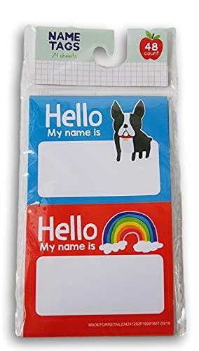 Classroom Supply Self-Adhesive Colorful Name Tag Set - French Bulldog and Rainbow - 48 Count