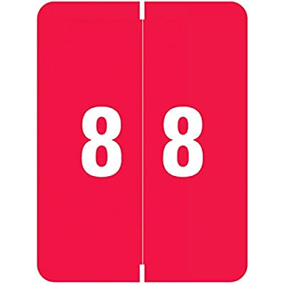 "SMEAD COMPATIBLE SMNM-8 Xlcc Color Code Label, Permanent, Numeric""8"", 1 1/2"" x 2"", Red (Pack of 500)"