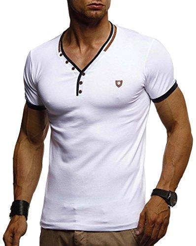 Leif Nelson Herren T-Shirt V-Ausschnitt Sweatshirt Longsleeve Basic Shirt Hoodie Slim Fit LN1330; Größe XL, Weiss