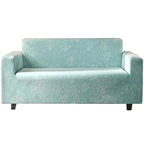 High Stretch Couch Shield,High-Grade Velvet Sofa Protector Cover, Office Plush Couch Covers, Universal Chair/Loveseat/Couch Sofa Slipcover-Light_Blue_4_Seater(235-300CM)