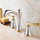 LXH-SH Impresionante Grifería de Tres Piezas de Oro Plateado Mezclador de Lavabo Europeo de Tres Orificios Mueble de baño de Cobre Grifo Dividido Moderno