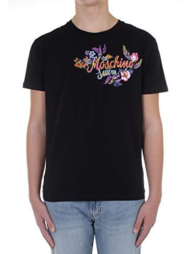 Moschino t-Shirt Uomo Nera in Cotone Dettaglio Logo Dipinto con Fiori 1904 Nero S