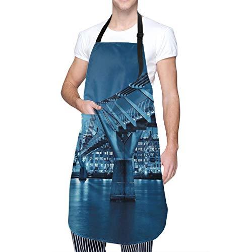 COFEIYISI Delantal de Cocina Millennium Bridge y la Catedral de San Pablo en Londres Monument Town en el diseño nocturno Delantal Chefs Cocina para Cocinar/Hornear