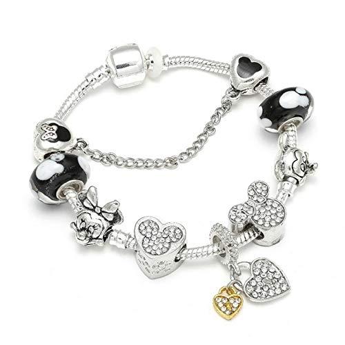 PmseK Pulsera de Moda,Pulsera de Curación Luxury Animal Charm Bracelets & Bangles Women Jewelry Minnie Pink Bow-Knot Pendant Brand Bracelet DIY Handmade For Girl Gift Light Yellow Color 20cm