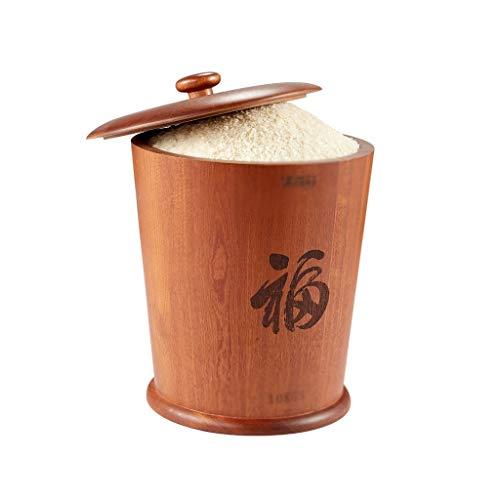 Opbergen van levensmiddelen, emmer voor het bewaren van keukenmandjes, huishouden, met emmer van massief hout, potten en inmaakpotten.